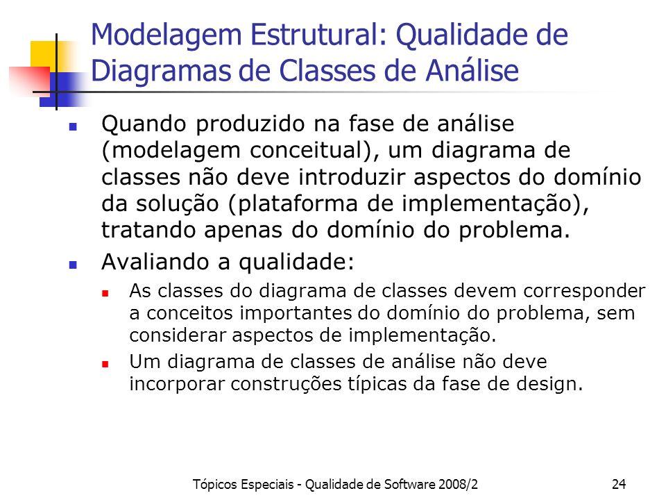 Tópicos Especiais - Qualidade de Software 2008/224 Modelagem Estrutural: Qualidade de Diagramas de Classes de Análise Quando produzido na fase de anál