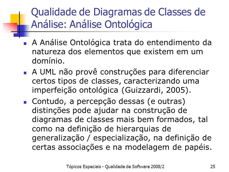 Tópicos Especiais - Qualidade de Software 2008/225 Qualidade de Diagramas de Classes de Análise: Análise Ontológica A Análise Ontológica trata do ente