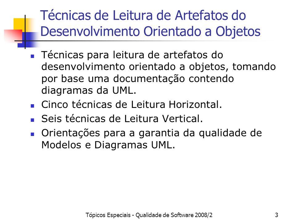 Tópicos Especiais - Qualidade de Software 2008/24 Artefatos Documento de Especificação de Requisitos: Diagrama de Pacotes (opcional) Diagramas de Casos de Uso Descrições de Casos de Uso Documento de Especificação de Análise: Diagrama de Pacotes (opcional) Diagramas de Classes Diagramas de Estados (opcional) Diagramas de Seqüência (opcional) Dicionário de Projeto descrevendo classes, atributos e operações