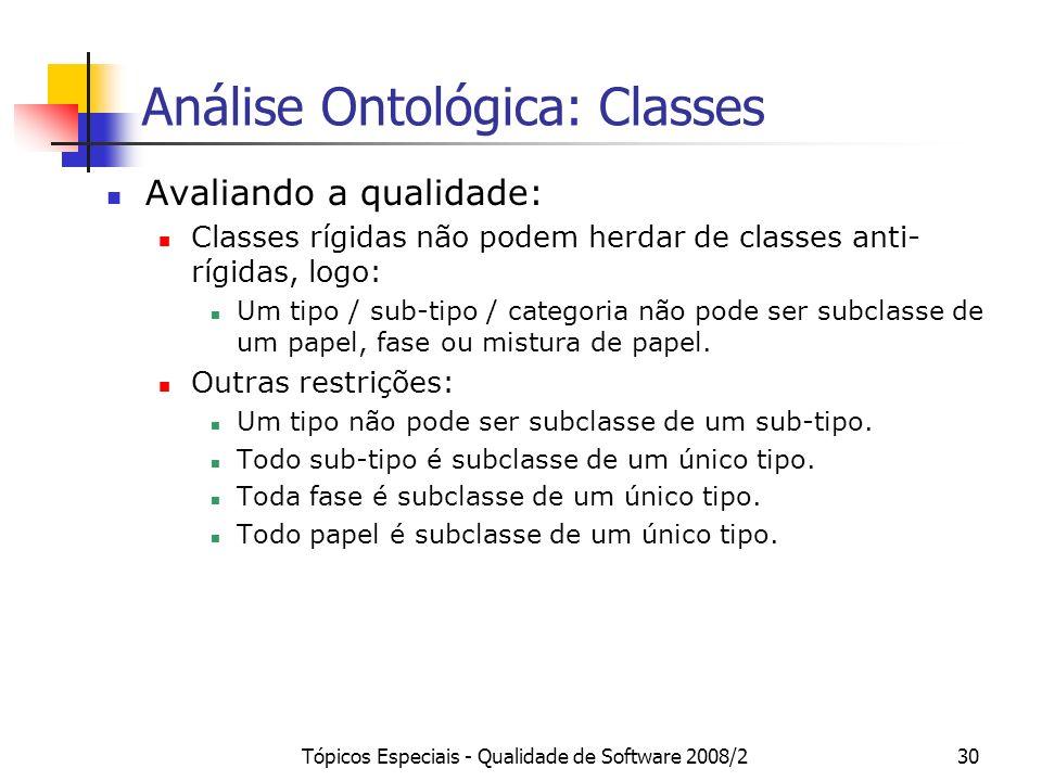 Tópicos Especiais - Qualidade de Software 2008/230 Análise Ontológica: Classes Avaliando a qualidade: Classes rígidas não podem herdar de classes anti