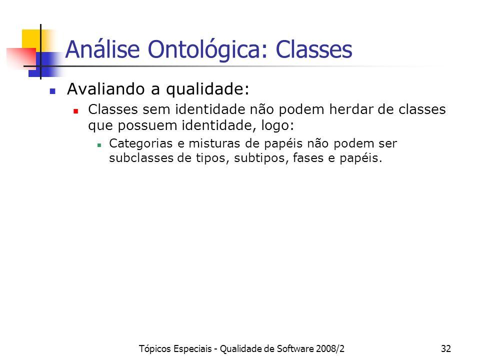 Tópicos Especiais - Qualidade de Software 2008/232 Análise Ontológica: Classes Avaliando a qualidade: Classes sem identidade não podem herdar de class