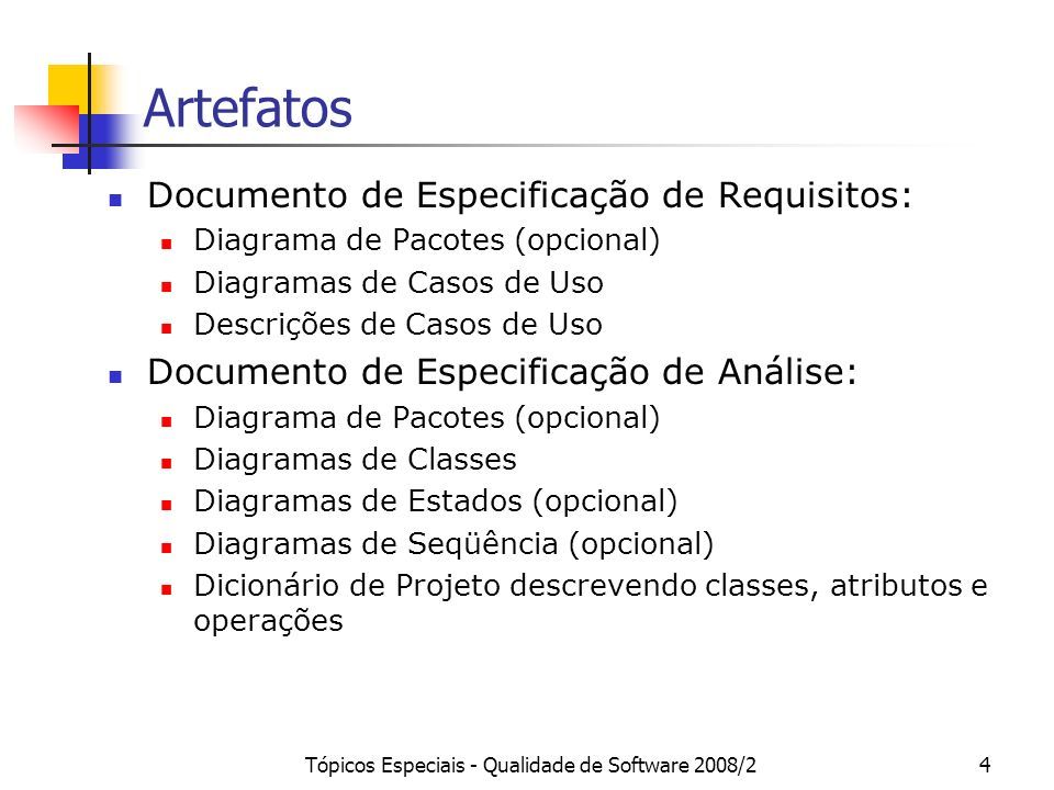 Tópicos Especiais - Qualidade de Software 2008/24 Artefatos Documento de Especificação de Requisitos: Diagrama de Pacotes (opcional) Diagramas de Caso