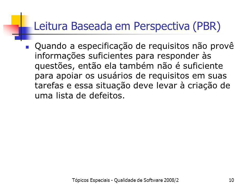 Tópicos Especiais - Qualidade de Software 2008/210 Leitura Baseada em Perspectiva (PBR) Quando a especificação de requisitos não provê informações suf
