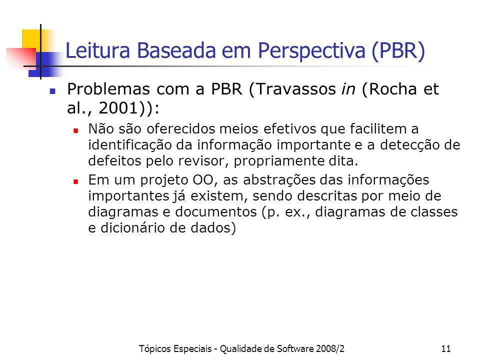 Tópicos Especiais - Qualidade de Software 2008/211 Leitura Baseada em Perspectiva (PBR) Problemas com a PBR (Travassos in (Rocha et al., 2001)): Não s