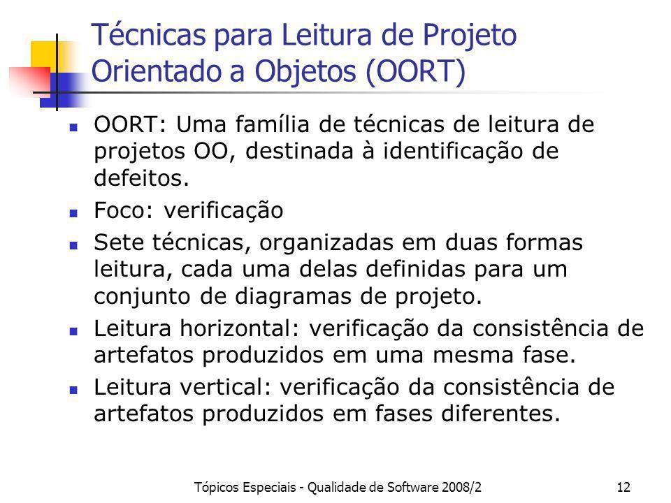 Tópicos Especiais - Qualidade de Software 2008/212 Técnicas para Leitura de Projeto Orientado a Objetos (OORT) OORT: Uma família de técnicas de leitur