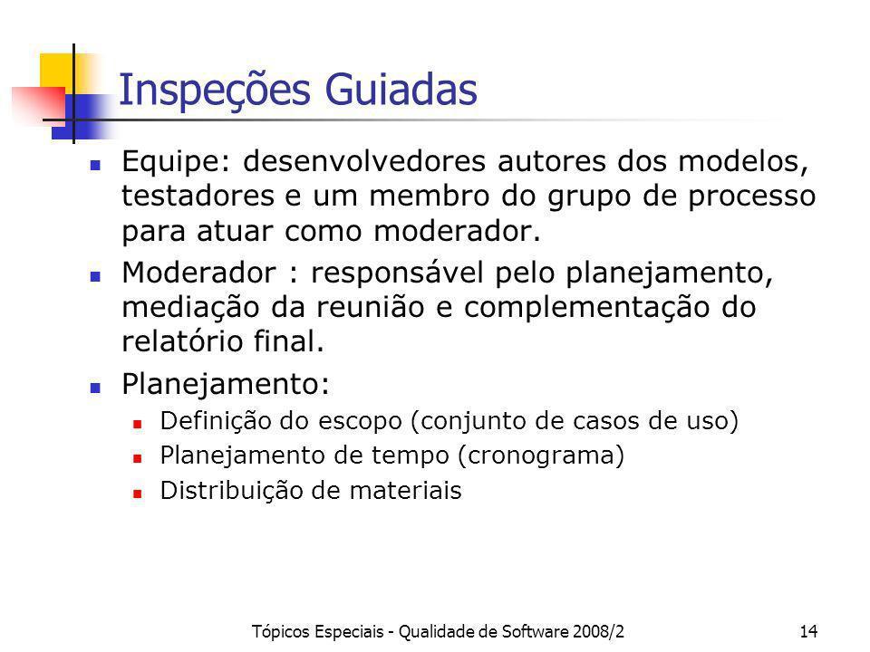 Tópicos Especiais - Qualidade de Software 2008/214 Inspeções Guiadas Equipe: desenvolvedores autores dos modelos, testadores e um membro do grupo de p
