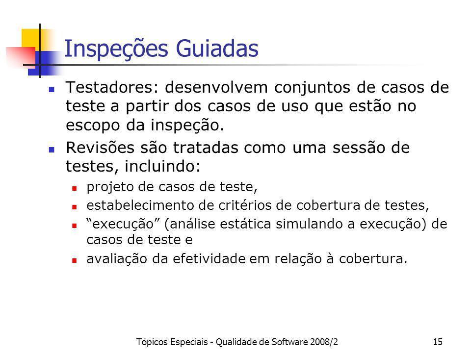 Tópicos Especiais - Qualidade de Software 2008/215 Inspeções Guiadas Testadores: desenvolvem conjuntos de casos de teste a partir dos casos de uso que
