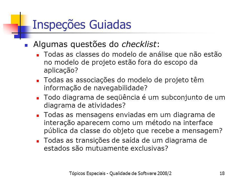 Tópicos Especiais - Qualidade de Software 2008/218 Inspeções Guiadas Algumas questões do checklist: Todas as classes do modelo de análise que não estã