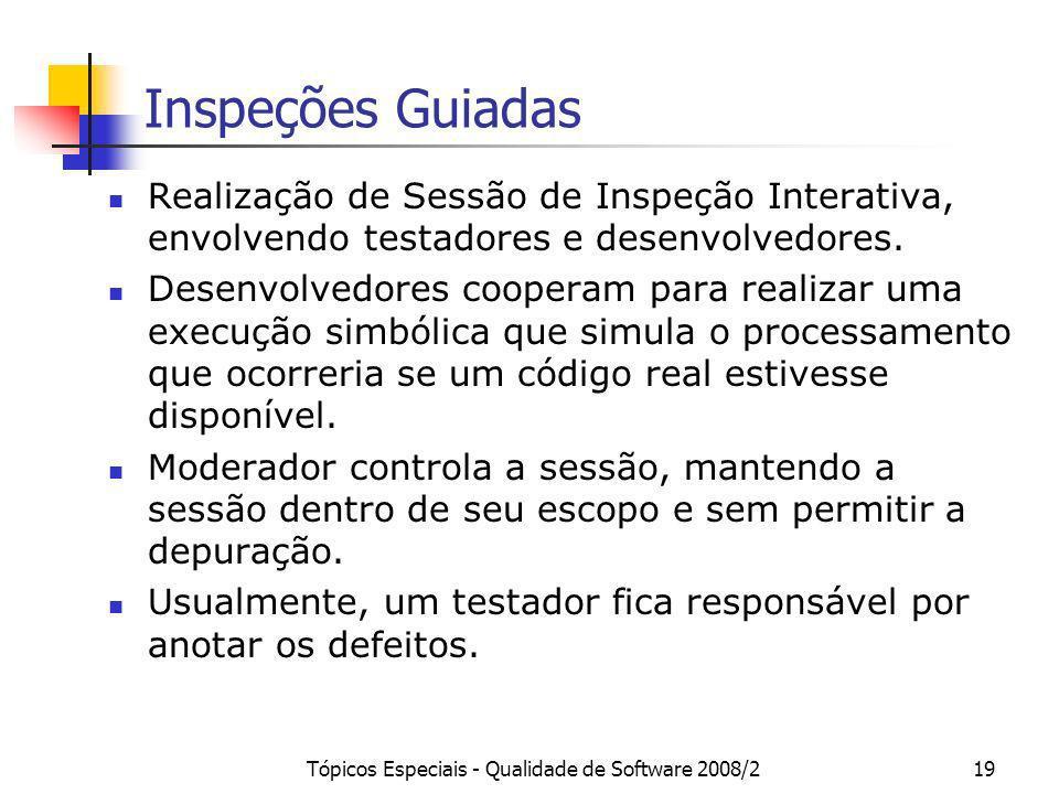 Tópicos Especiais - Qualidade de Software 2008/219 Inspeções Guiadas Realização de Sessão de Inspeção Interativa, envolvendo testadores e desenvolvedo