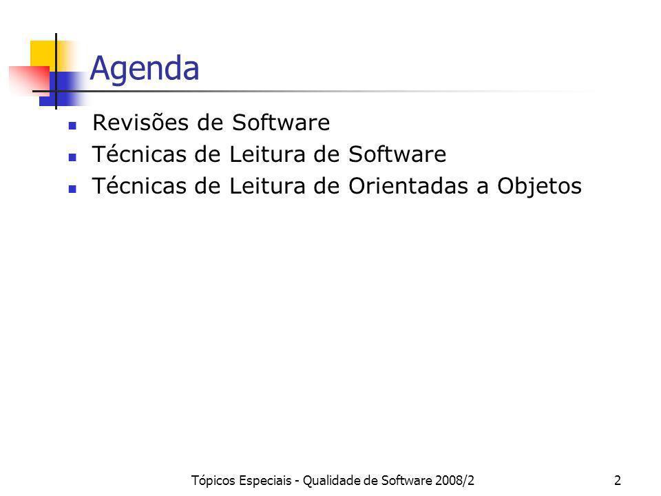 Tópicos Especiais - Qualidade de Software 2008/22 Agenda Revisões de Software Técnicas de Leitura de Software Técnicas de Leitura de Orientadas a Obje