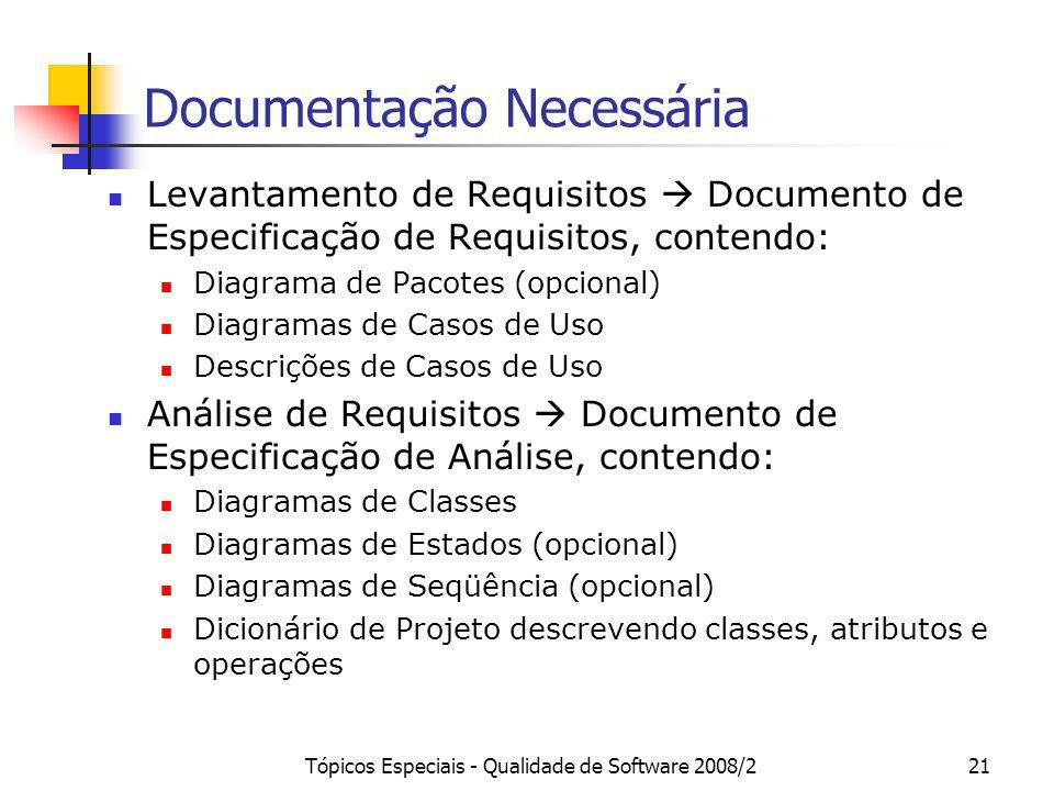 Tópicos Especiais - Qualidade de Software 2008/221 Documentação Necessária Levantamento de Requisitos Documento de Especificação de Requisitos, conten