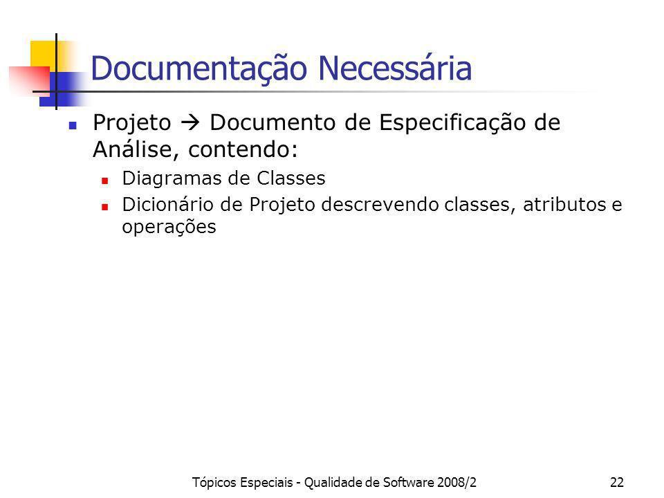 Tópicos Especiais - Qualidade de Software 2008/222 Documentação Necessária Projeto Documento de Especificação de Análise, contendo: Diagramas de Class