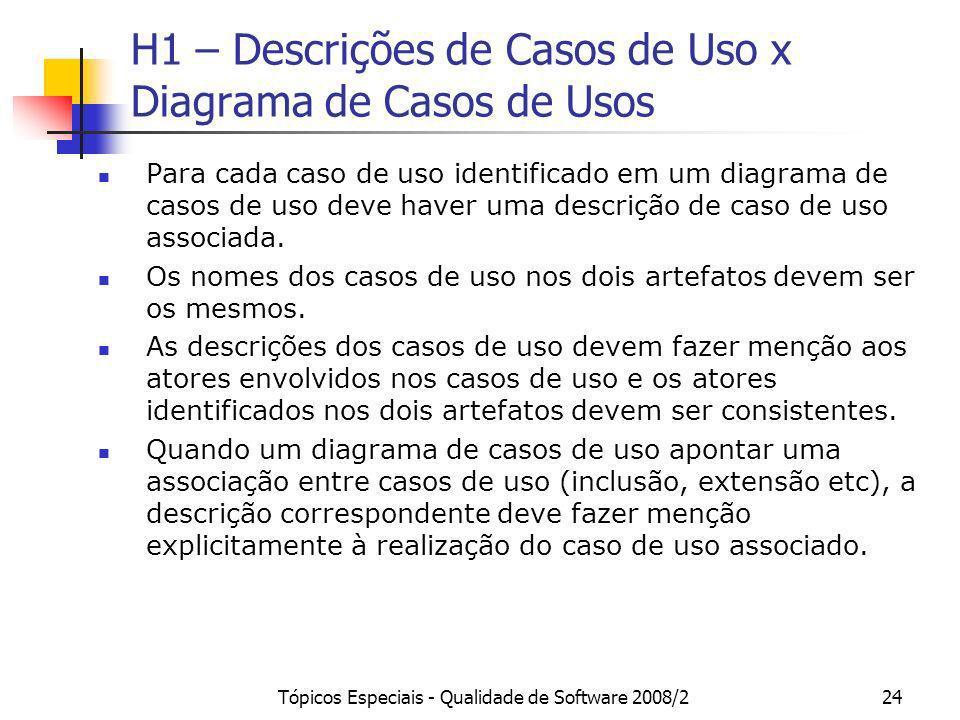 Tópicos Especiais - Qualidade de Software 2008/224 H1 – Descrições de Casos de Uso x Diagrama de Casos de Usos Para cada caso de uso identificado em u