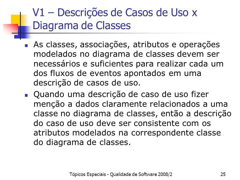 Tópicos Especiais - Qualidade de Software 2008/225 V1 – Descrições de Casos de Uso x Diagrama de Classes As classes, associações, atributos e operaçõe