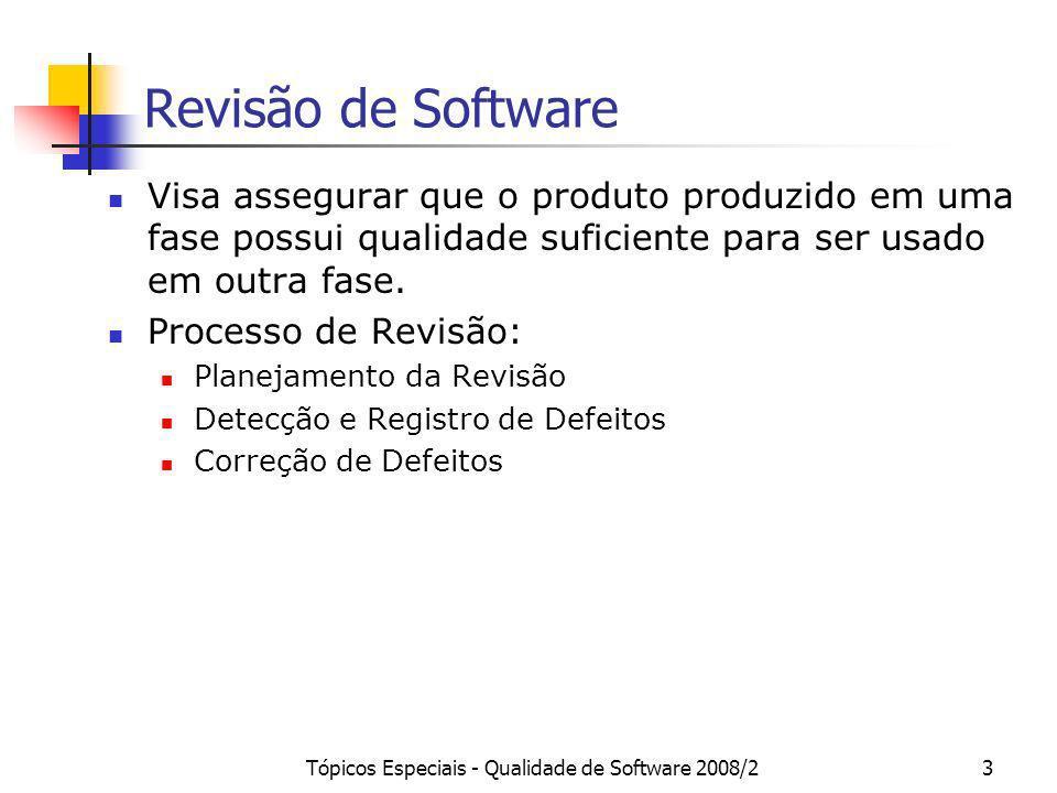 Tópicos Especiais - Qualidade de Software 2008/23 Revisão de Software Visa assegurar que o produto produzido em uma fase possui qualidade suficiente p