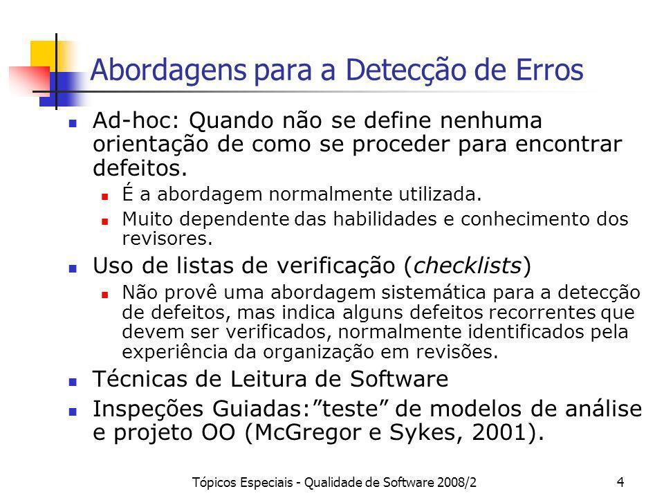 Tópicos Especiais - Qualidade de Software 2008/24 Abordagens para a Detecção de Erros Ad-hoc: Quando não se define nenhuma orientação de como se proce