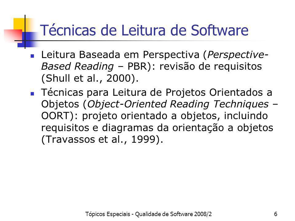 Tópicos Especiais - Qualidade de Software 2008/26 Técnicas de Leitura de Software Leitura Baseada em Perspectiva (Perspective- Based Reading – PBR): r