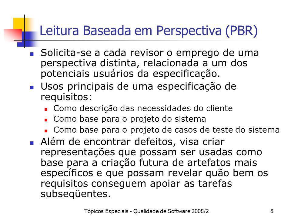 Tópicos Especiais - Qualidade de Software 2008/28 Leitura Baseada em Perspectiva (PBR) Solicita-se a cada revisor o emprego de uma perspectiva distint