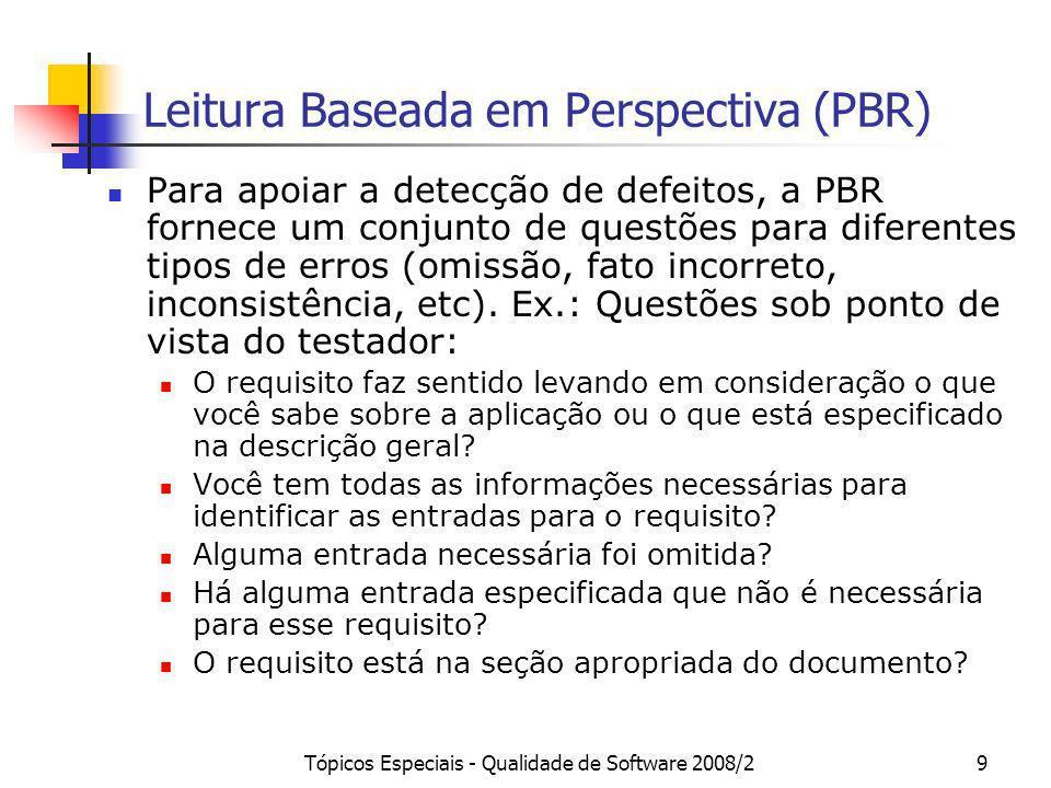 Tópicos Especiais - Qualidade de Software 2008/29 Leitura Baseada em Perspectiva (PBR) Para apoiar a detecção de defeitos, a PBR fornece um conjunto d
