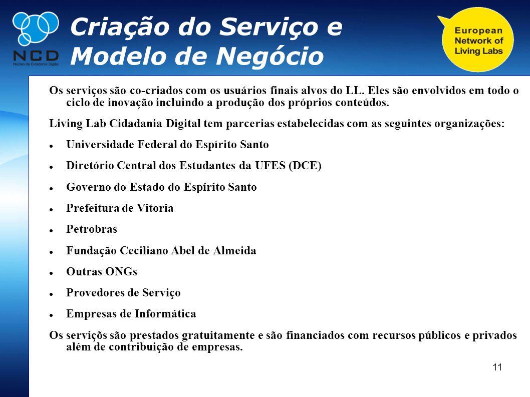 11 Criação do Serviço e Modelo de Negócio Os serviços são co-criados com os usuários finais alvos do LL. Eles são envolvidos em todo o ciclo de inovaç