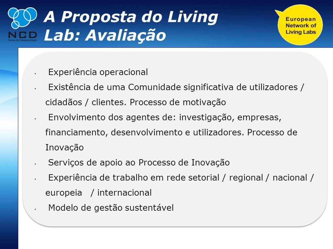 A Proposta do Living Lab: Avaliação Experiência operacional Existência de uma Comunidade significativa de utilizadores / cidadãos / clientes. Processo