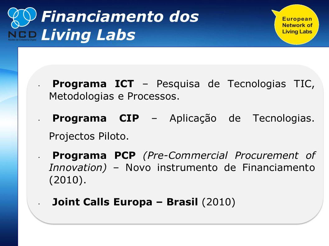 Financiamento dos Living Labs Programa ICT – Pesquisa de Tecnologias TIC, Metodologias e Processos. Programa CIP – Aplicação de Tecnologias. Projectos