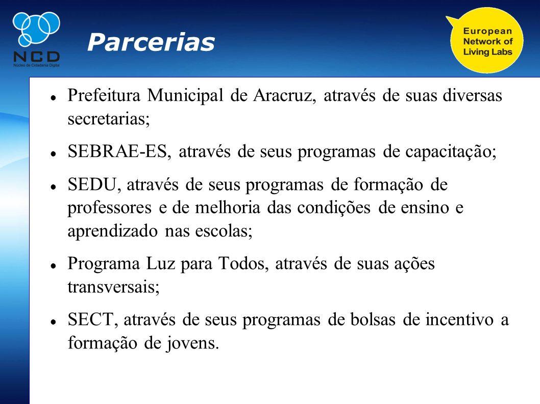 Parcerias Prefeitura Municipal de Aracruz, através de suas diversas secretarias; SEBRAE-ES, através de seus programas de capacitação; SEDU, através de