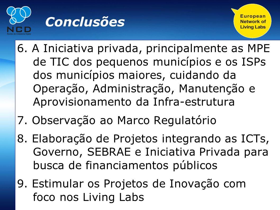 Conclusões 6. A Iniciativa privada, principalmente as MPE de TIC dos pequenos municípios e os ISPs dos municípios maiores, cuidando da Operação, Admin