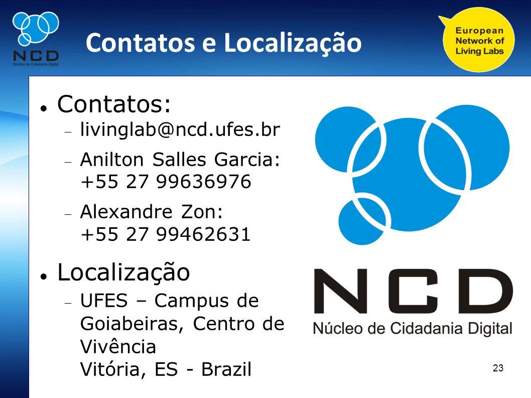 23 Contatos e Localização Contatos: livinglab@ncd.ufes.br Anilton Salles Garcia: +55 27 99636976 Alexandre Zon: +55 27 99462631 Localização UFES – Cam