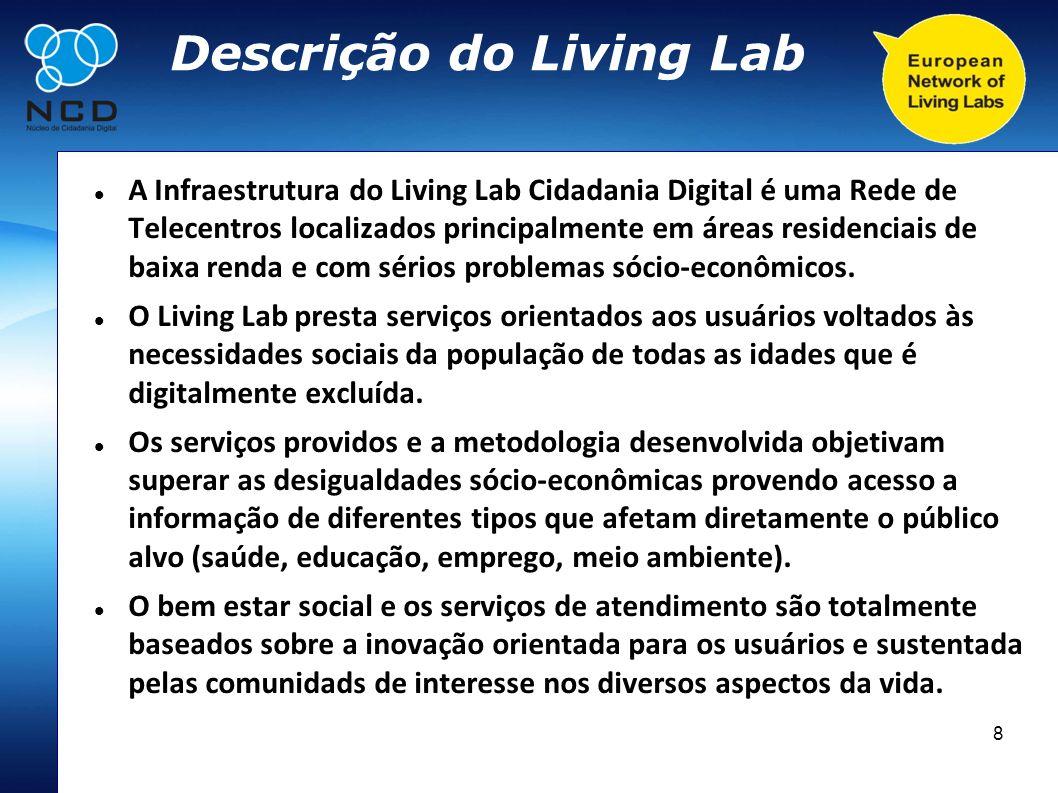 8 Descrição do Living Lab A Infraestrutura do Living Lab Cidadania Digital é uma Rede de Telecentros localizados principalmente em áreas residenciais