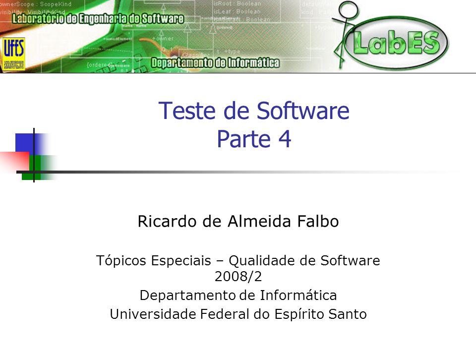 Tópicos Especiais - Qualidade de Software 2008/242 Exemplo: Ferramenta GeRis Teste de Caso de Uso Projeto:Geris Documento Base:Documento de Especificação de Requisitos Versão:1.1 Caso de UsoFluxo de EventosEntradasClasse de Equivalência Válida Classe de Equivalência Inválida Saida Esperada 1Controlar Versão de Plano de Riscos Criar Nova Versão de Plano de Riscos (curso normal) nome da versãocadeia de caracteres, exceto apenas espaços nova versão criada cadeia vaziaErro: nome inválido cadeia contendo apenas espaços Erro: nome inválido nome já existenteErro: nome já existente Criar Nova Versão de Plano de Riscos (curso alternativo) versão baseversão base selecionada nova versão criada contendo os dados da versão base