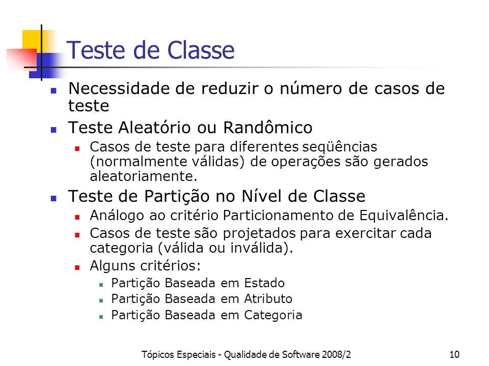 Tópicos Especiais - Qualidade de Software 2008/210 Teste de Classe Necessidade de reduzir o número de casos de teste Teste Aleatório ou Randômico Caso