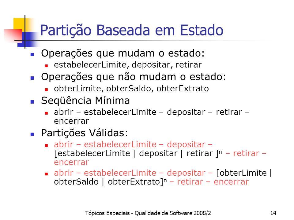 Tópicos Especiais - Qualidade de Software 2008/214 Partição Baseada em Estado Operações que mudam o estado: estabelecerLimite, depositar, retirar Oper