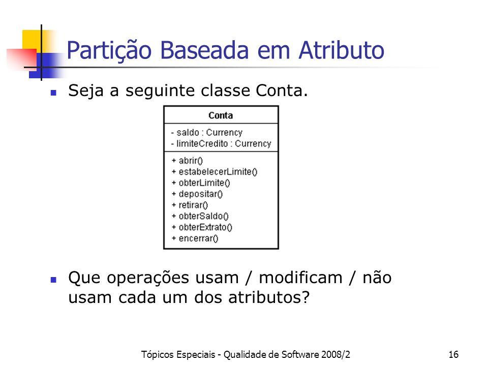 Tópicos Especiais - Qualidade de Software 2008/216 Partição Baseada em Atributo Seja a seguinte classe Conta. Que operações usam / modificam / não usa