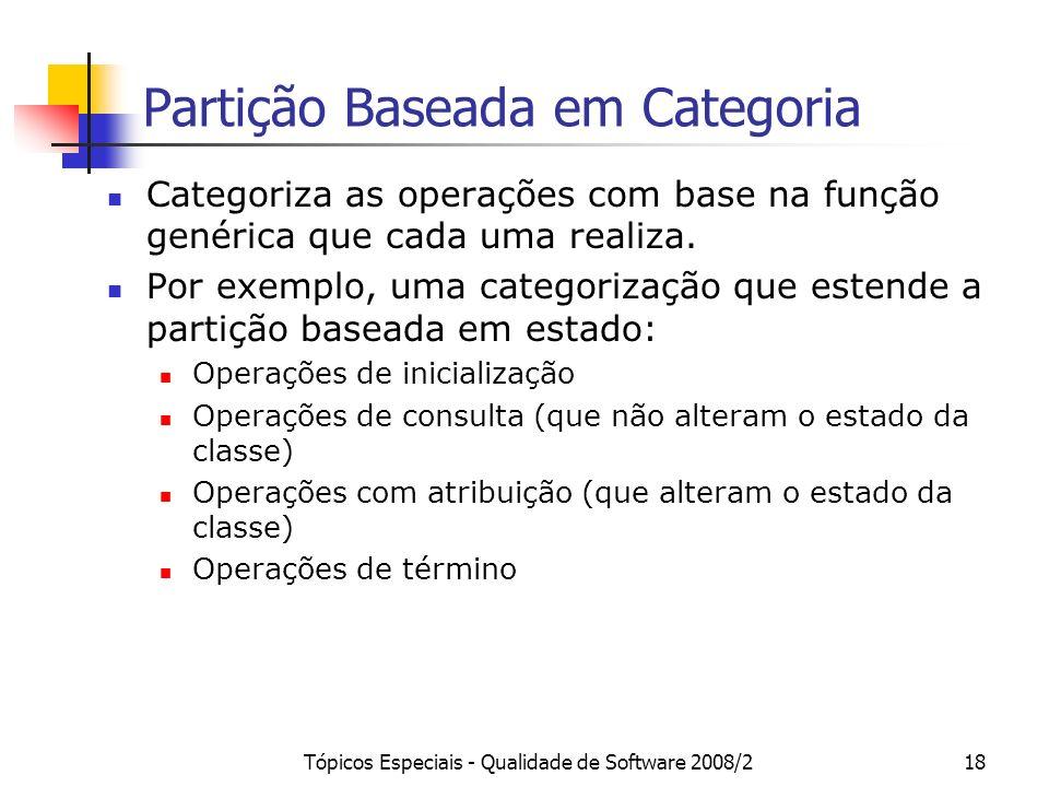 Tópicos Especiais - Qualidade de Software 2008/218 Partição Baseada em Categoria Categoriza as operações com base na função genérica que cada uma real
