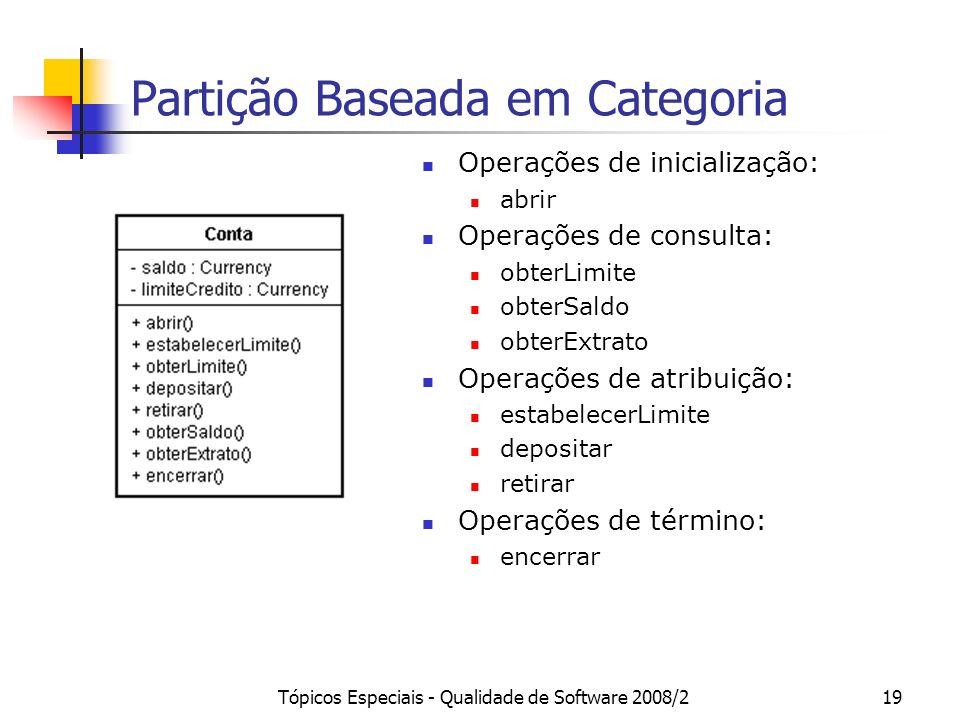Tópicos Especiais - Qualidade de Software 2008/219 Partição Baseada em Categoria Operações de inicialização: abrir Operações de consulta: obterLimite