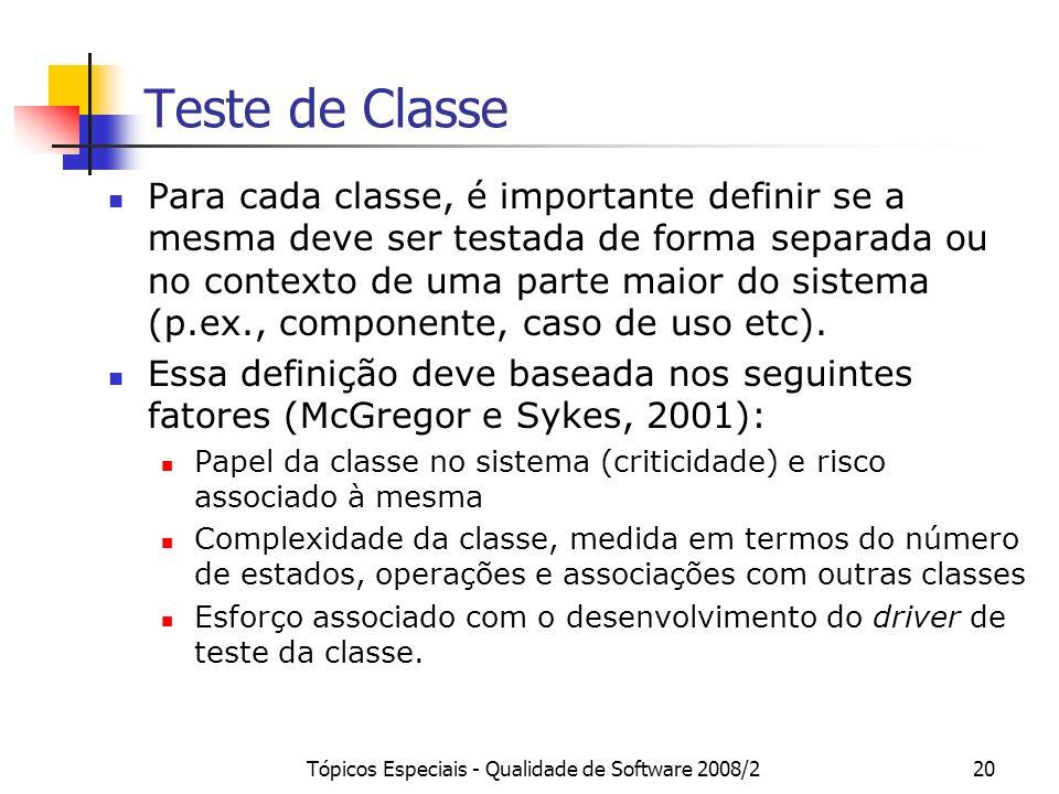 Tópicos Especiais - Qualidade de Software 2008/220 Teste de Classe Para cada classe, é importante definir se a mesma deve ser testada de forma separad