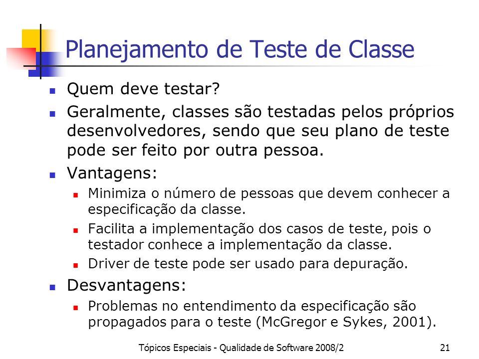 Tópicos Especiais - Qualidade de Software 2008/221 Planejamento de Teste de Classe Quem deve testar? Geralmente, classes são testadas pelos próprios d