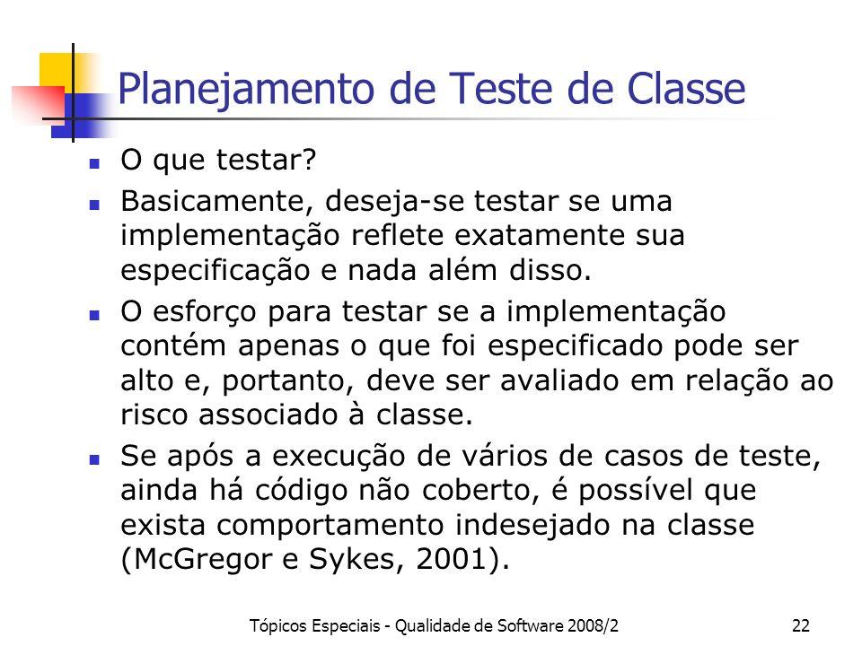 Tópicos Especiais - Qualidade de Software 2008/222 Planejamento de Teste de Classe O que testar? Basicamente, deseja-se testar se uma implementação re