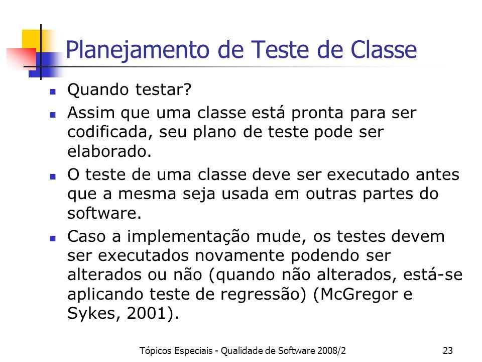 Tópicos Especiais - Qualidade de Software 2008/223 Planejamento de Teste de Classe Quando testar? Assim que uma classe está pronta para ser codificada