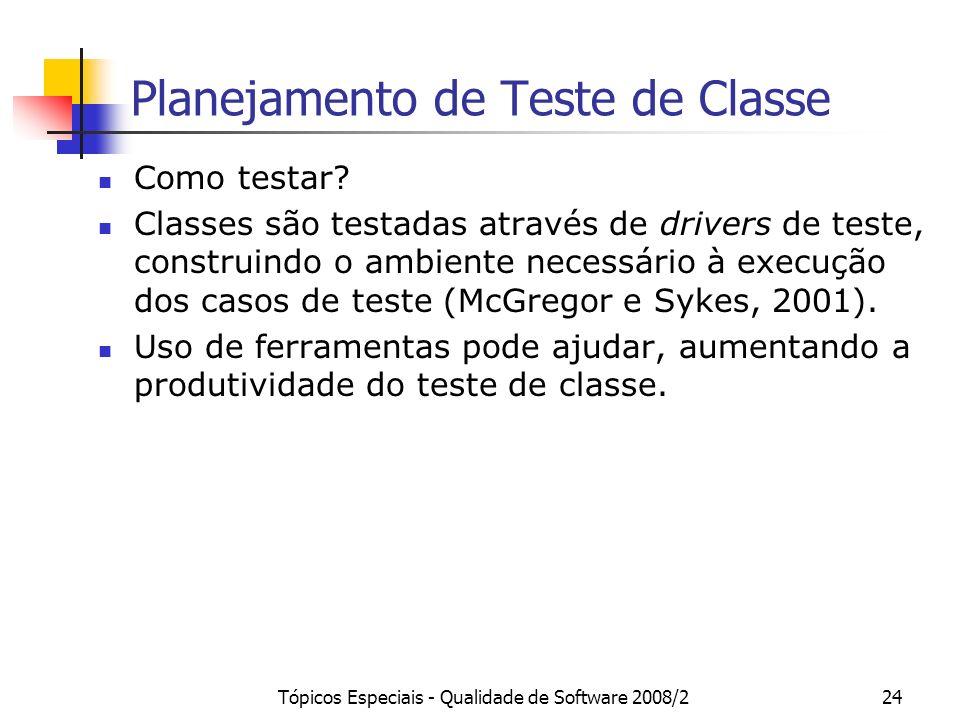 Tópicos Especiais - Qualidade de Software 2008/224 Planejamento de Teste de Classe Como testar? Classes são testadas através de drivers de teste, cons