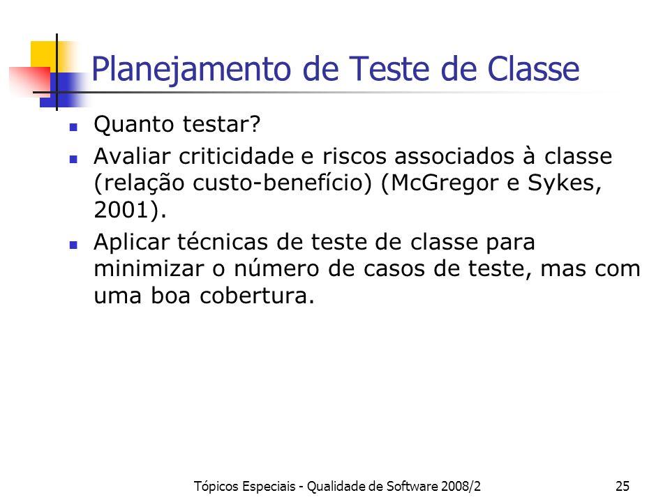 Tópicos Especiais - Qualidade de Software 2008/225 Planejamento de Teste de Classe Quanto testar? Avaliar criticidade e riscos associados à classe (re
