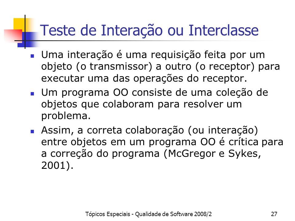 Tópicos Especiais - Qualidade de Software 2008/227 Teste de Interação ou Interclasse Uma interação é uma requisição feita por um objeto (o transmissor