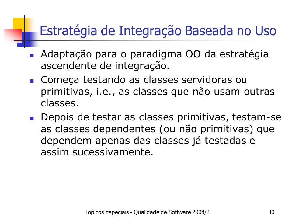 Tópicos Especiais - Qualidade de Software 2008/230 Estratégia de Integração Baseada no Uso Adaptação para o paradigma OO da estratégia ascendente de i
