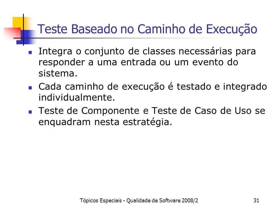 Tópicos Especiais - Qualidade de Software 2008/231 Teste Baseado no Caminho de Execução Integra o conjunto de classes necessárias para responder a uma