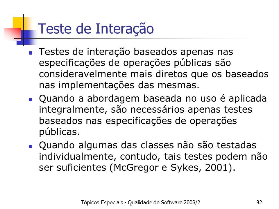 Tópicos Especiais - Qualidade de Software 2008/232 Teste de Interação Testes de interação baseados apenas nas especificações de operações públicas são