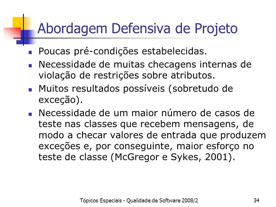 Tópicos Especiais - Qualidade de Software 2008/234 Abordagem Defensiva de Projeto Poucas pré-condições estabelecidas. Necessidade de muitas checagens