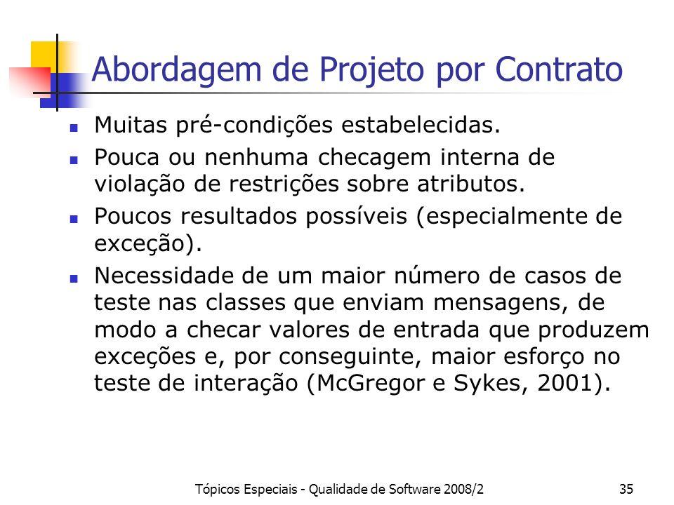 Tópicos Especiais - Qualidade de Software 2008/235 Abordagem de Projeto por Contrato Muitas pré-condições estabelecidas. Pouca ou nenhuma checagem int