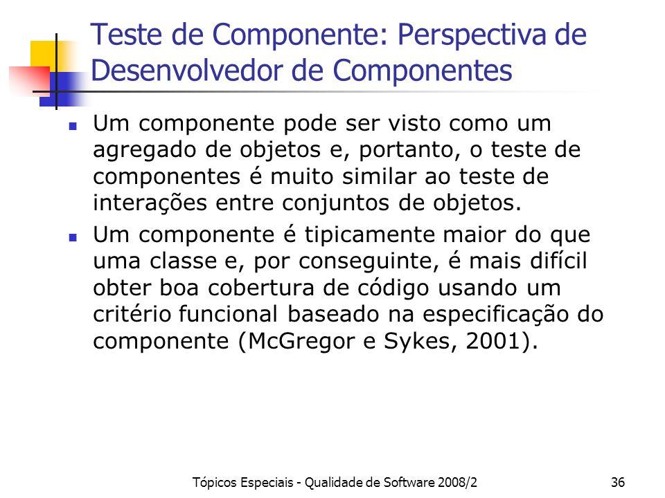Tópicos Especiais - Qualidade de Software 2008/236 Teste de Componente: Perspectiva de Desenvolvedor de Componentes Um componente pode ser visto como