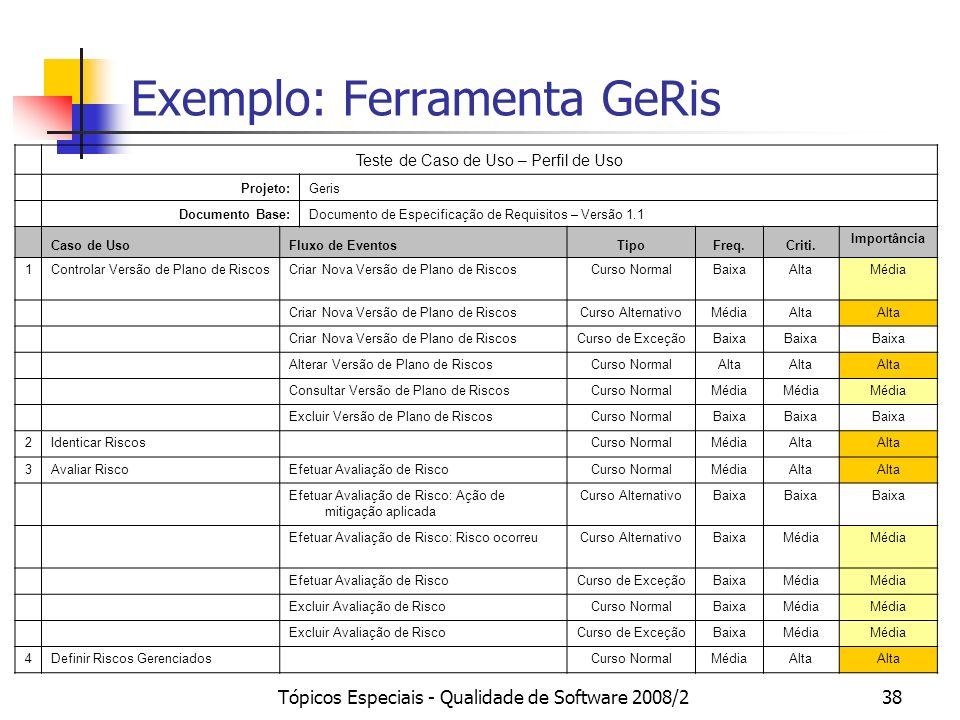 Tópicos Especiais - Qualidade de Software 2008/238 Exemplo: Ferramenta GeRis Teste de Caso de Uso – Perfil de Uso Projeto:Geris Documento Base:Documen